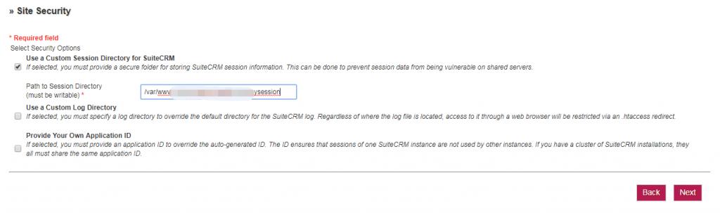 SuiteCRM安装步骤-创建Session文件夹