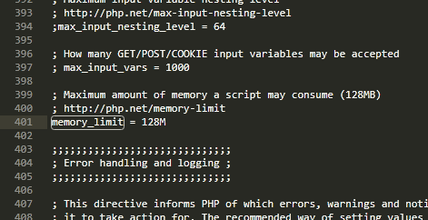 修改memory_limit