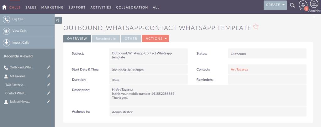 同步 WhatsApp记录 到呼叫模块