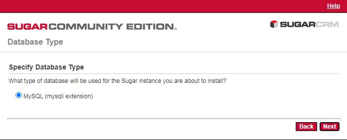 SugarCRM CE安装-数据库选择