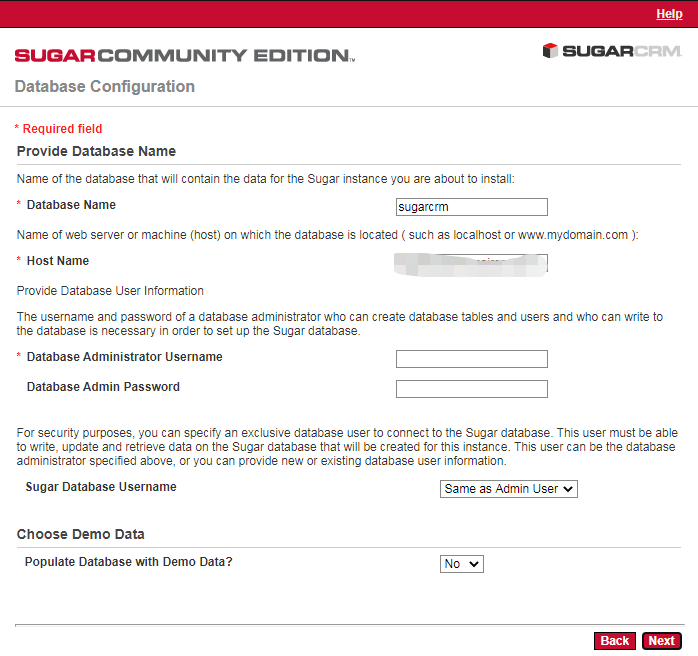 SugarCRM CE安装-数据库配置