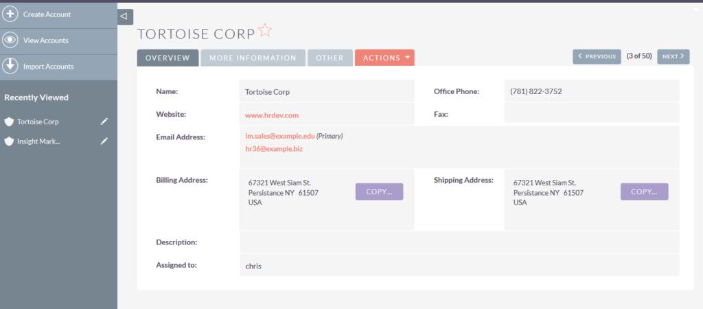 SuiteCRM客户详细视图