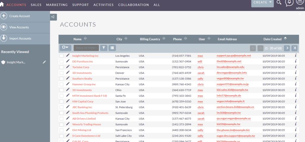 SuiteCRM客户列表