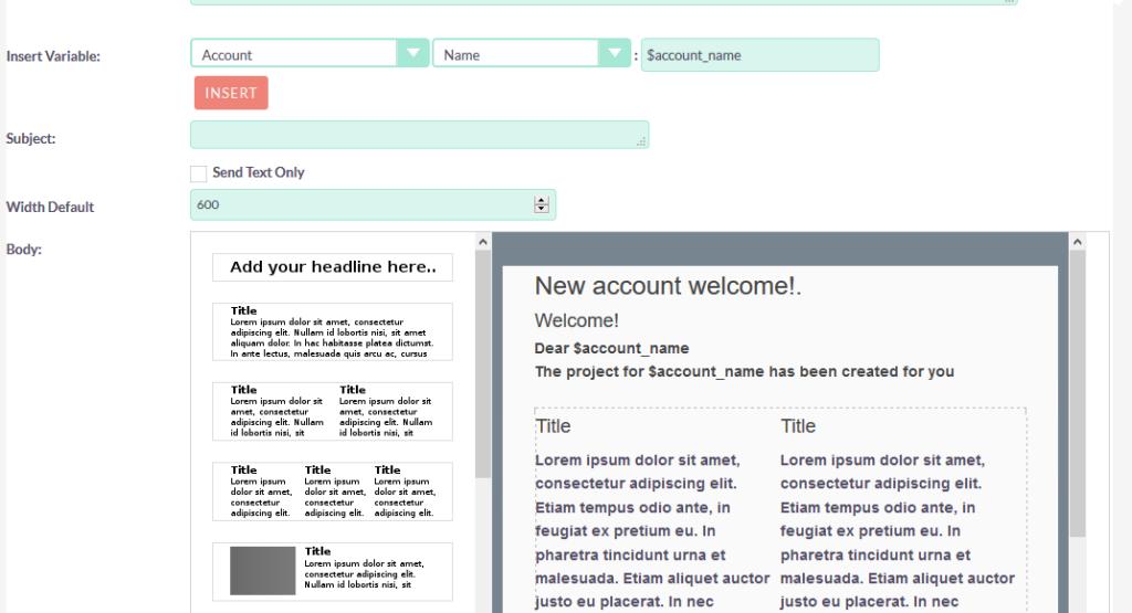 SuiteCRM 电子邮件模板